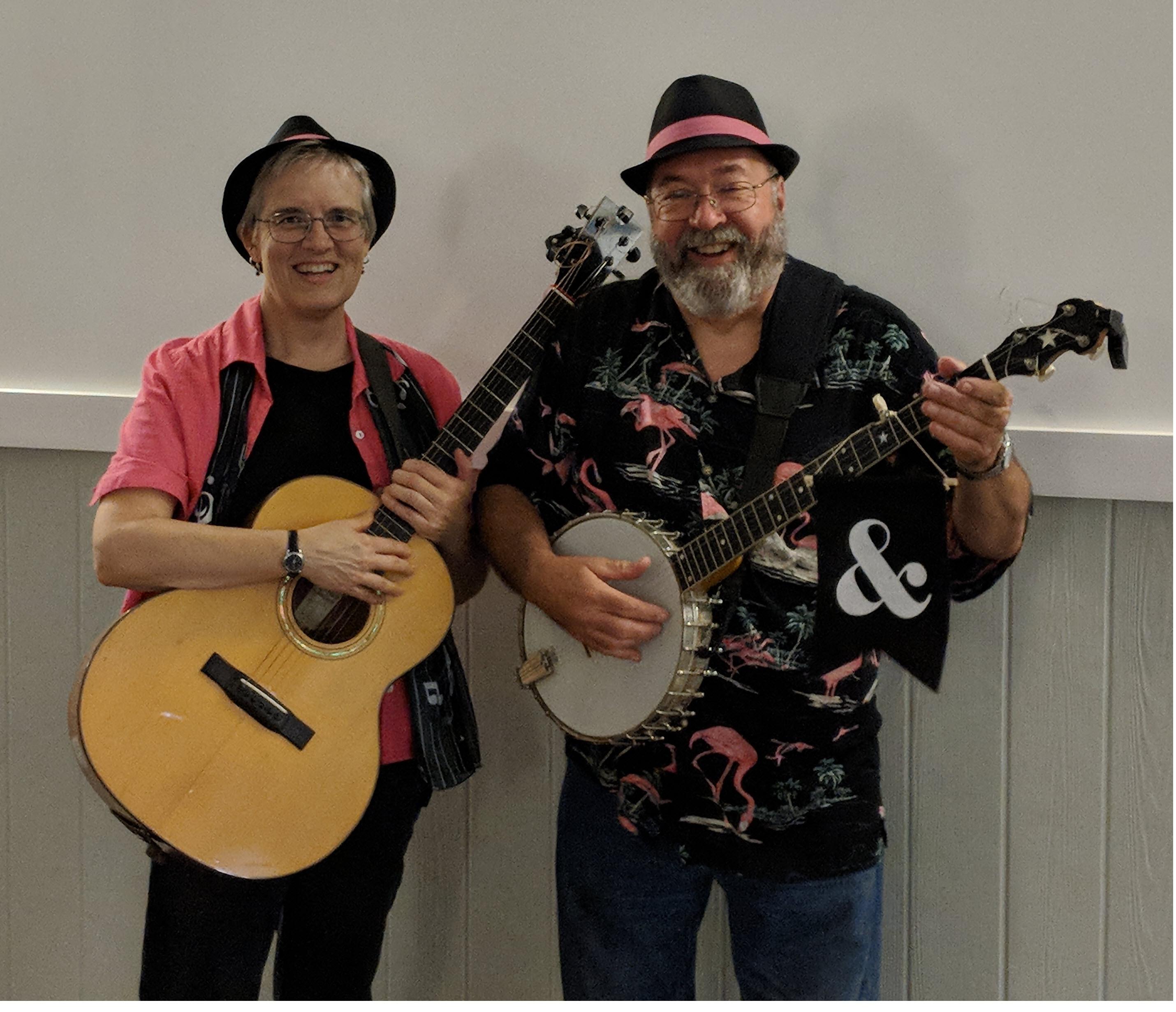 Two musicians, guitar, banjo